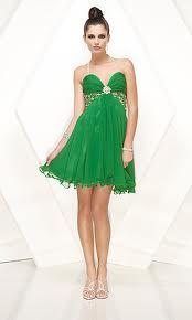 zieolna sukienka rozszerzana krótka